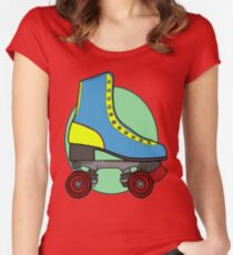 Retro Skate - Blue Women's Fitted Scoop T-Shirt