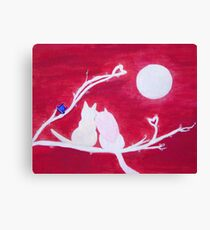 Full-moon Love - Two Loving Cats Canvas Print