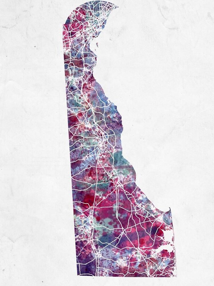 Delaware Karte kalte Farben von MapMapMaps