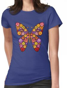Flowers butterfly silhouette Womens Fitted T-Shirt
