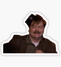 drunk ron swanson Sticker