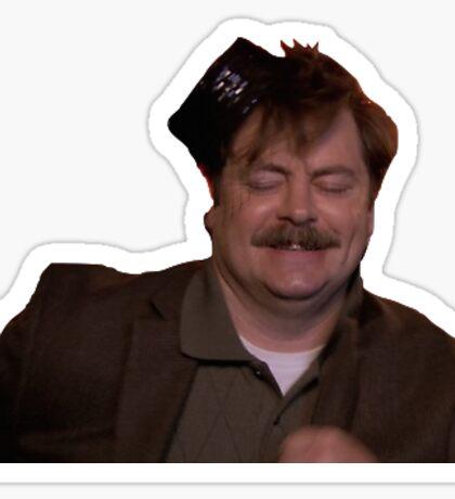 drunk ron swanson Sticker