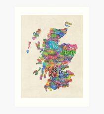 Scotland Typography Text Map Art Print
