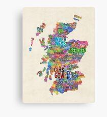 Scotland Typography Text Map Canvas Print