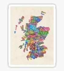 Scotland Typography Text Map Sticker