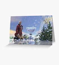 Christmas woman, Surrealistic festive text card. Greeting Card