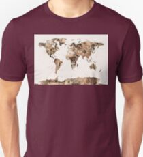 Map of the World Map Sepia Watercolor T-Shirt