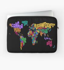 Text Map of the World Map Laptop Sleeve