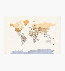 Watercolour Political Map of the World Photographic Print