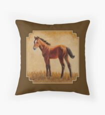 Cute Bay Quarter Horse Foal Throw Pillow