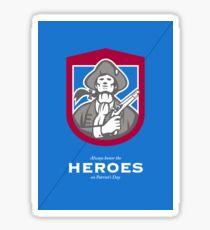 Patriots Day Greeting Card American Patriot With Flintlock Shield Sticker
