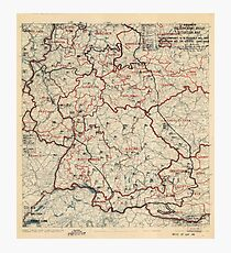 June 3 1945 World War II HQ Twelfth Army Group situation map Photographic Print