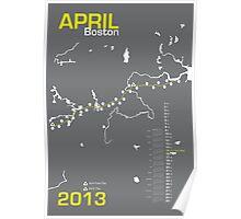 Boston Marathon Map Poster