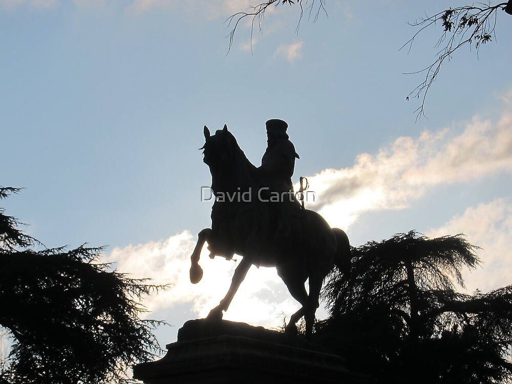 Garibaldi in silhouette, Siena, Italy by David Carton