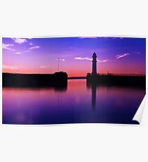 Newhaven harbour sunset Poster