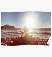Young Woman Doing Beach Yoga Poster