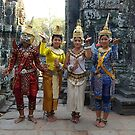 Cambodian Dancers at Temple by Bev Pascoe
