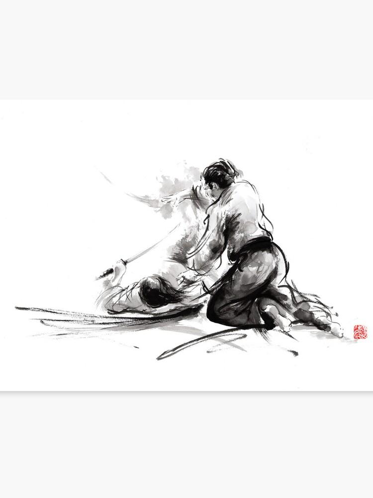 09c4ca6a Samurai sword bushido katana martial arts budo sumi-e original ink painting  artwork Canvas Print