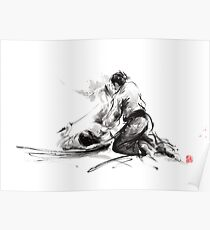 Samurai sword bushido katana martial arts budo sumi-e original ink painting artwork Poster