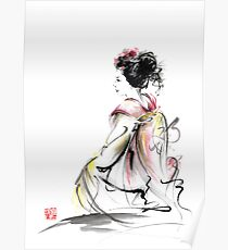 Geisha Japanese woman young girl in Tokyo kimono fabric design original Japan painting art Poster
