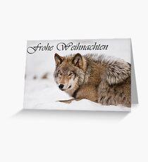 Timber Wolf Christmas Card German 11 Greeting Card