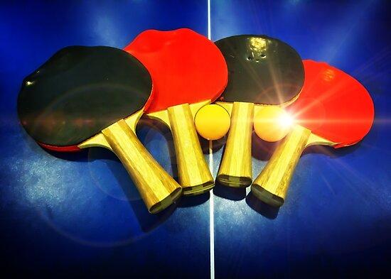 Lens Flare Pingpong Balls Bats Table Tennis Paddles Rackets by Beverly Claire Kaiya