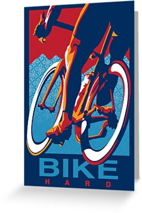 Retro styled motivational cycling poster: Bike Hard by SFDesignstudio