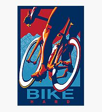 Retro styled motivational cycling poster: Bike Hard Photographic Print