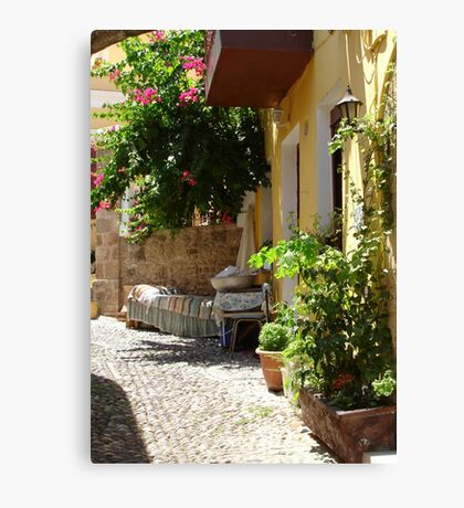 Traditional Greek Courtyard In Rhodes Old Town Canvas Print