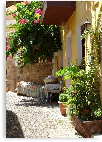 Traditional Greek Courtyard In Rhodes Old Town by taiche