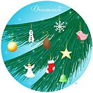 Ornements (ornaments) - Christmas greeting card by Marie Roumégoux | Gib