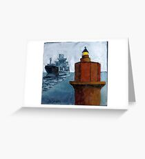 Wolf Trap Lighthouse with Passing Freighter Greeting Card