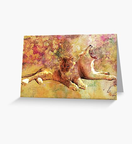 LIONESS ROAR Greeting Card