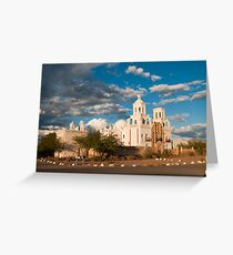 Sunset at San Xavier Mission Greeting Card