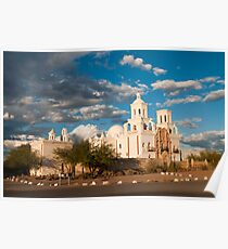 Sunset at San Xavier Mission Poster