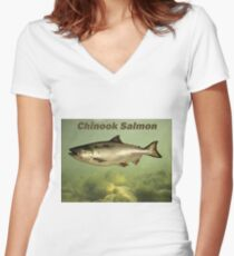 Chinook Salmon Women's Fitted V-Neck T-Shirt