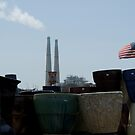 Stacks With Old Glory by Sandra Gray