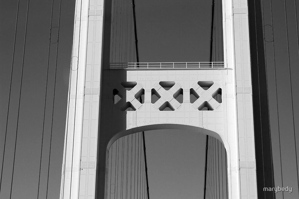 Mackinac Bridge Detail 3 Black and White by marybedy