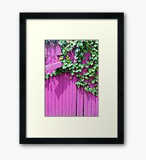 Pink Fence and Foliage Framed Print