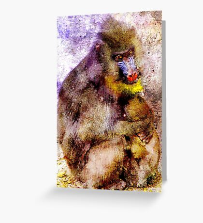 BABOON MOTHER AND BABY Greeting Card