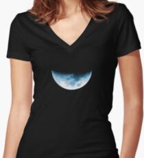 Almost Half Blue Moon Setting Women's Fitted V-Neck T-Shirt