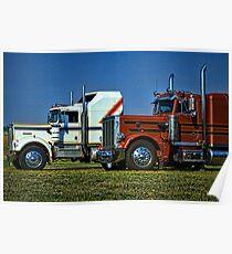 Kenworth and Peterbilt Semi Trucks Poster