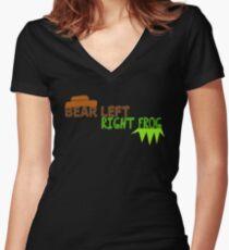 Bear Left Right Frog Women's Fitted V-Neck T-Shirt