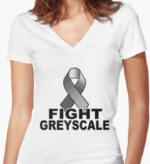 Fight Greyscale - LIGHT Women's Fitted V-Neck T-Shirt