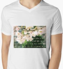 Beautiful Cherry Blossoms Antique Handwritten Letter Overlay T-Shirt