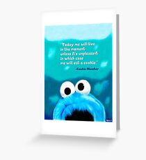 Cookie Monster Motivational Print Greeting Card