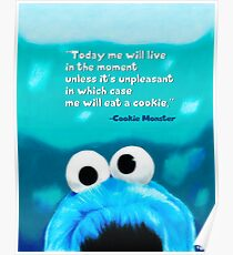 Cookie Monster Motivational Print Poster