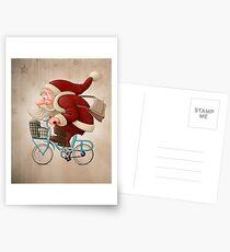 Santa Claus rides a bicycle Postcards