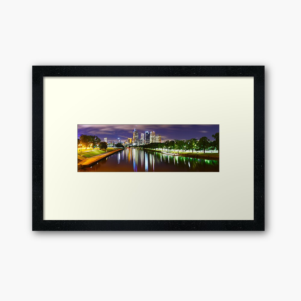 Yarra River by Night, Melbourne, Victoria, Australia Framed Art Print