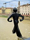 The Common man walks off a bridge, again, Florence, Italy by David Carton